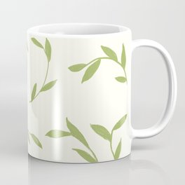 Green leaves on cream Coffee Mug