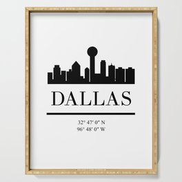 DALLAS TEXAS BLACK SILHOUETTE SKYLINE ART Serving Tray