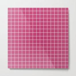 Fuchsia rose - fuchsia color -  White Lines Grid Pattern Metal Print