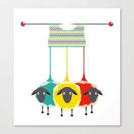 Knitting sheep Canvas Print