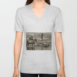 Horses taking a bath and relaxing Unisex V-Neck