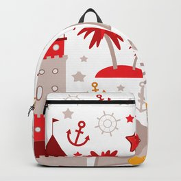 pattern with sea icons on white background. Seamless pattern. Red and gray Backpack