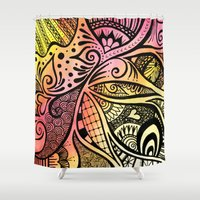firefly Shower Curtains featuring Firefly Zentangle by Wealie