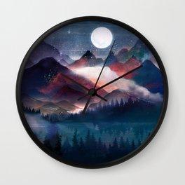 Mountain Lake Under the Stars Wall Clock