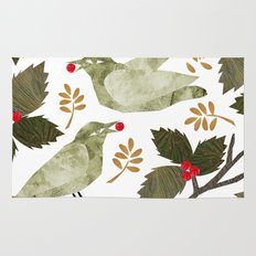 Birds and Holly in Greens, Golds and Red Rug