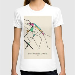 Colorful City Maps: San Pio delle Camere, Italy T-shirt