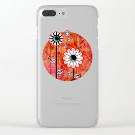 Retro Flowers on textured red Clear iPhone Case