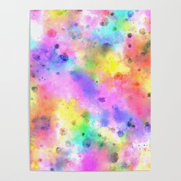 Pastel Rainbow Watercolor Abstract Painting With Dots & Splashes Poster