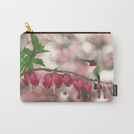 ruby-throated hummingbird on bleeding heart (with bokeh) Carry-All Pouch