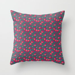 Cranberries pattern (on dark red background) Throw Pillow