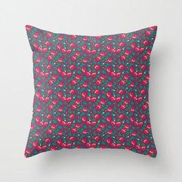 Cranberries pattern (on dark red background) Throw Pillow