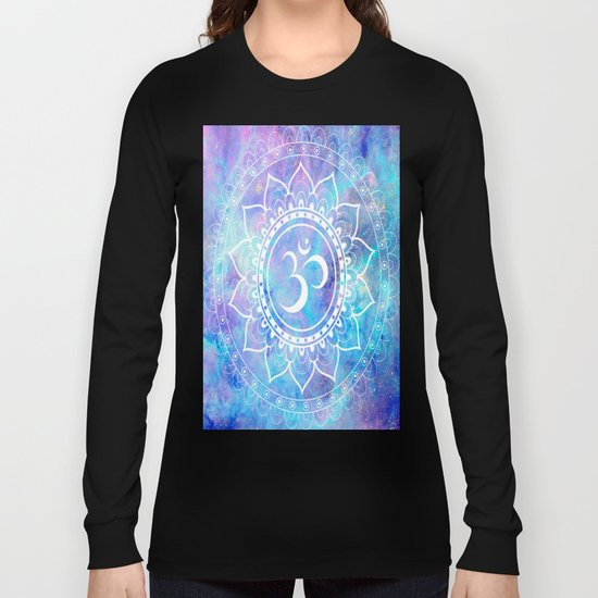 Om Mandala Pink Aqua Lavender Galaxy Space Long Sleeve T-shirt