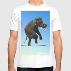 Elephant Walking on wire MEDIUM White Mens Fitted Tee