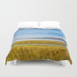 Morass grass in sun rising Duvet Cover