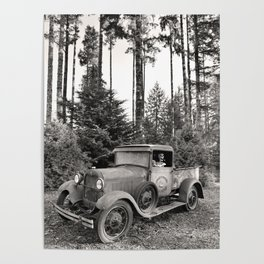 Buck Nasty's Moonshine Model A Ford Vintage Truck Skeleton Poster