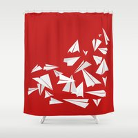 planes Shower Curtains featuring Paper Planes by Becky Gibson