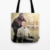 "putin Tote Bags featuring Putin And Obama in ""Les Intouchables"" by Luigi Tarini"