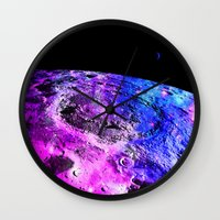 the moon Wall Clocks featuring Purple Blue Galaxy Moon  by 2sweet4words Designs