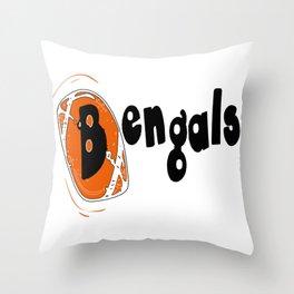Bengals Fancy Football Font Throw Pillow