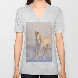 White horse in snow Unisex V-Neck