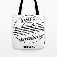 fangirl Tote Bags featuring Authentic Fangirl by Off The Path Creative