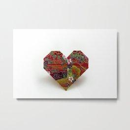 An Origami Valentine Heart Metal Print
