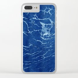 Cracks and Scratches on Midnight Blue Suede Leather Clear iPhone Case