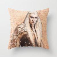 thranduil Throw Pillows featuring thranduil oropherion by LindaMarieAnson