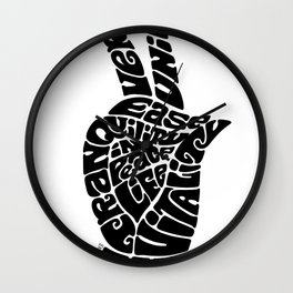 Life Force Hand in Black Wall Clock