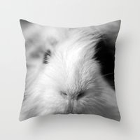 guinea pig Throw Pillows featuring a fluffy guinea pig by ClaudiaTNT