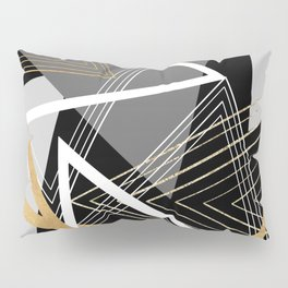 Original Gray and Gold Abstract Geometric Pillow Sham