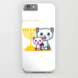 Hanukcats Jew And Pun Fan Gift iPhone Case