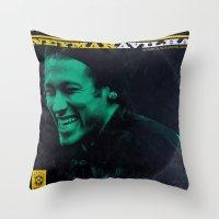 neymar Throw Pillows featuring LPFC: Neymar by James Campbell Taylor