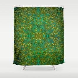 mandala green yellow magic #mandala Shower Curtain