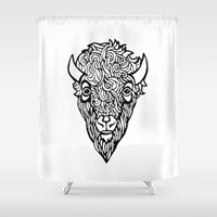 bison Shower Curtains featuring Bison by Paige Speights
