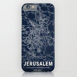 Jerusalem Blue Dark Color City Map iPhone Case