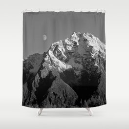 Moon Over Pioneer Peak B&W Shower Curtain