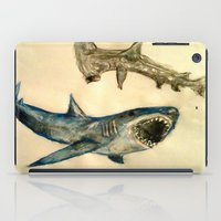 sharks iPad Cases featuring Sharks by Jen Hallbrown