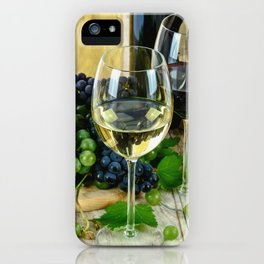 Glasses of Wine plus Grapes and Barrel iPhone Case