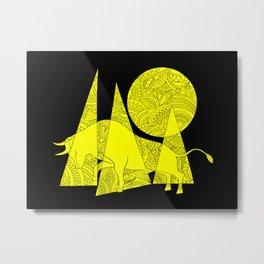 yellow zen composition on the black Metal Print