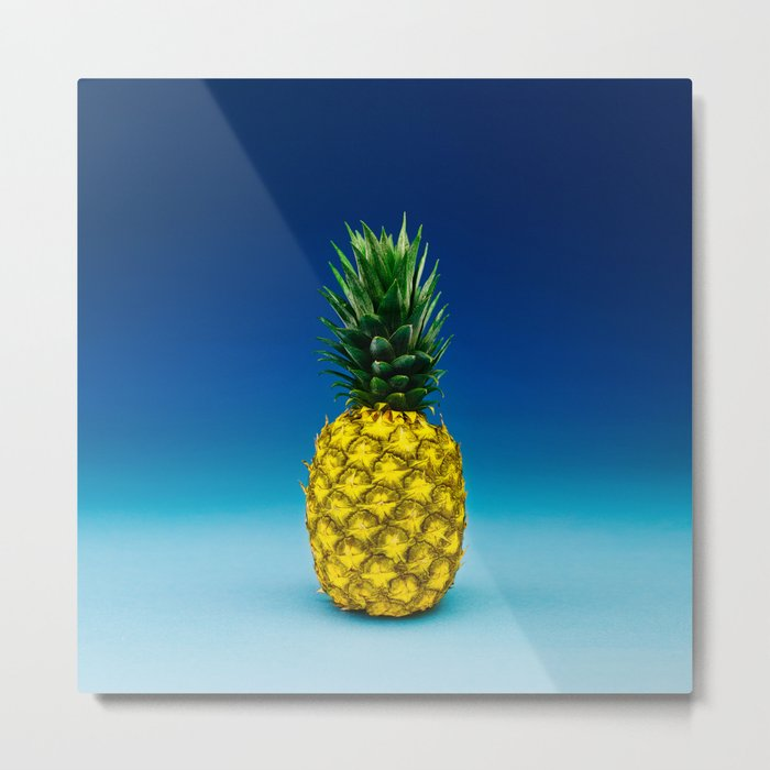 Hyperreal Pineapple Portrait on Blue Metal Print