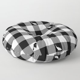 Black and White Checkered Animals Floor Pillow