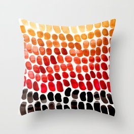Colorful Primitive Pattern Watercolor Scales Abstract Desert Orange Yellow Ochre Throw Pillow