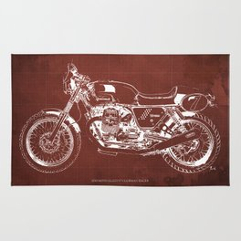 2010 Moto Guzzi V7 Clubman Racer red blueprint Rug