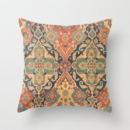 Geometric Leaves VIII // 18th Century Distressed Red Blue Green Colorful Ornate Accent Rug Pattern Throw Pillow
