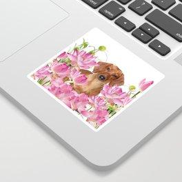 Dog in Field of Lotos Flower Sticker