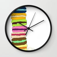 macaroons Wall Clocks featuring Macaroons by Pea Press