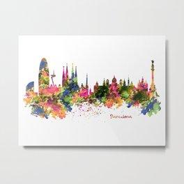 Barcelona Watercolor Skyline Metal Print