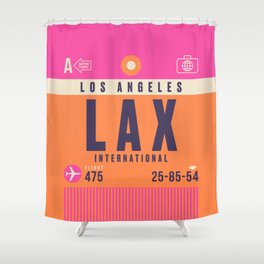 Retro Airline Luggage Tag - LAX Los Angeles Shower Curtain