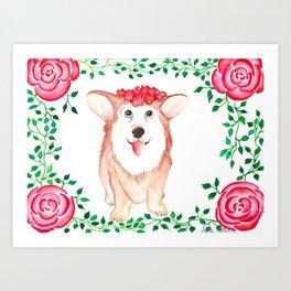Pembroke Welsh Corgi Watercolor Gouache Painting Art Print
